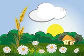 Espigas de trigo com a paisagem, o céu e flores — Vetorial Stock