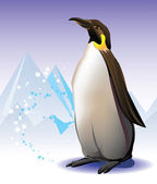 Penguin on the iceberg and snow background — Stock Vector