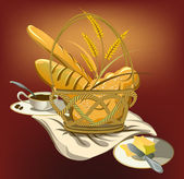 Basket with food,bread and coffee cup — Stock Vector