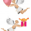 Flying angel with gift and heart — Imagen vectorial