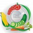 Stock Vector: White plate with vegetables