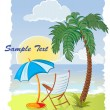 Palm tree on the sea beach with umbrella and chair — Stock Vector