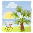 Sea beach with palm and chair - Stock Vector