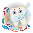 Painful tooth and sweets — Imagen vectorial
