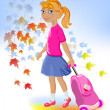 Royalty-Free Stock Vector Image: School girl with bag,back to school