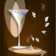 Glass with white wine and light — Imagen vectorial
