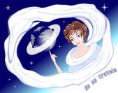 Mädchen mit planeten — Stockvektor