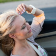 Woman driving cabriolet — Stock Photo