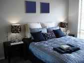 Blue tones in Bedroom — Stock Photo