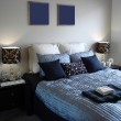 Luxurious Master Bedroom in Blues — Stock Photo