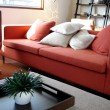 Bright Red Modern Lounge - Stock Photo