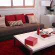 Bright Red Modern Lounge — Stock Photo