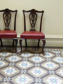 Upholstered Wooden Chair and Tessellated Tiles — Stock Photo