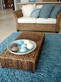 Blue Lounge and Rug — Stock Photo