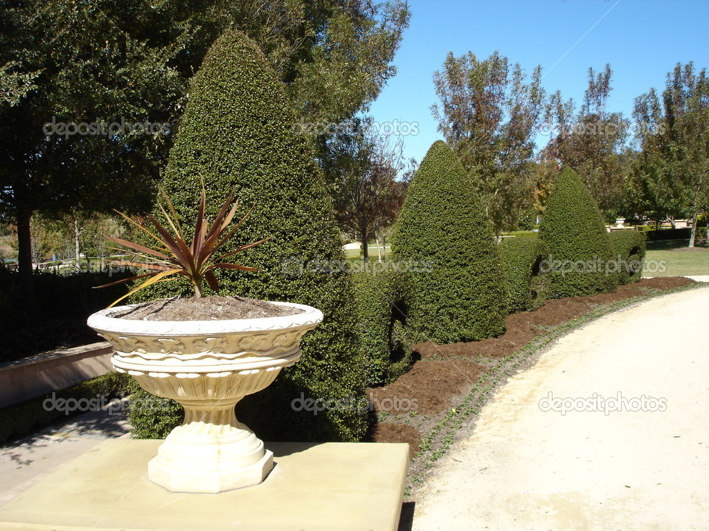 Formal garden wtih box hedge, urns and pathway  Stock Photo #6221946