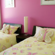 Pink and Yellow twin butterfly bedroom — Stock Photo #6508487