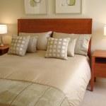 Modern bedroom soft tones — Stock Photo