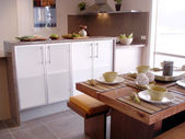 Modern kitchen and open plan dining — Stock Photo