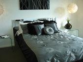 Sophisticated grey bedroom — Stock Photo