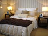 Modern bedroom chocolate brown tones — Stock Photo