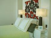 Modern bedroom feature headboard — Stock Photo