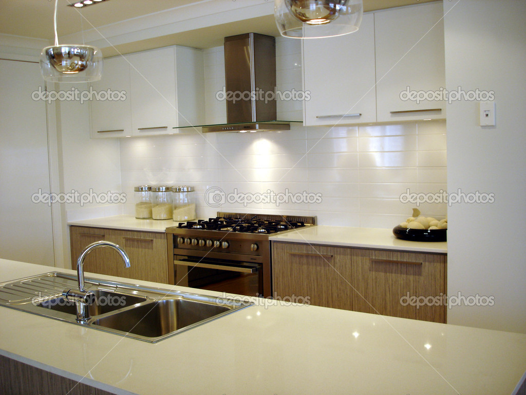 Modern kitchen brown and white ? Stock Photo ? scarfe #6502183