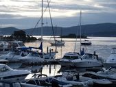 Boats moored at sunset — Stock Photo
