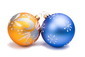 New Year Christmas blue and orange toys — Stock Photo