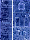 Set of blue circuit boards — Stock Photo