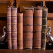 Old books with supports — Stock Photo