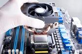 Installing CPU cooler — Stock Photo