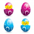 Colorful easter eggs and hatching chicks - Grafika wektorowa