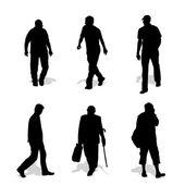 Men walking, vector silhouettes — Stock Vector