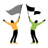Man holding a black and white checkered flag — Stock Vector