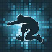 Dancing silhouette, jump — Stock Vector