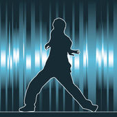 Dancing silhouette, hip-hop — Stock Vector