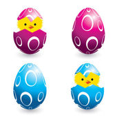 Colorful easter eggs and hatching chicks — Stock Vector