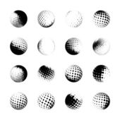 Halftone spheres, design elements — Stock Vector