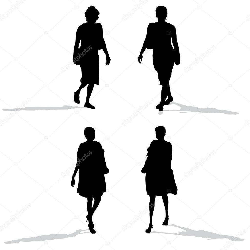 Women walking, vector silhouettes — Stock Vector ...