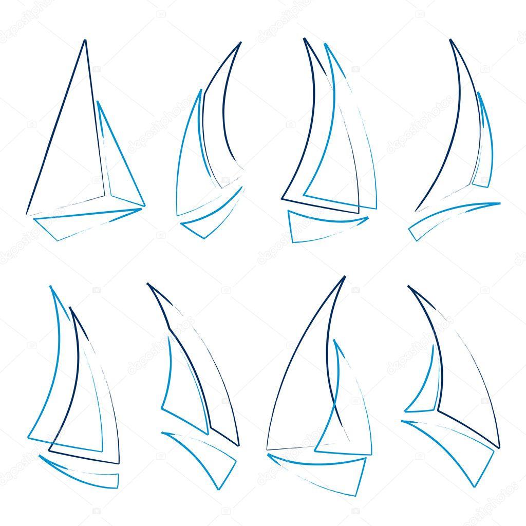 帆船图标的设置, 矢量图