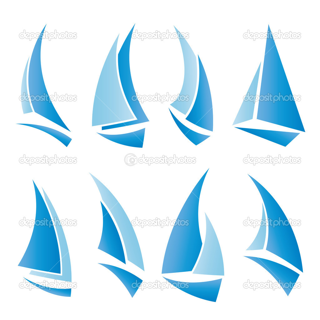 Set of sailboat icons, vector illustration — Stock Vector #5947027