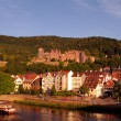 Stock Photo: Heidelberger Castle and tourist ship at sundown