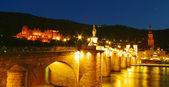Heidelberg Castle and Old Bridge at night — Stock Photo