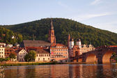View at old town and city bridge in Heidelberg — Stock Photo
