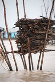 Storage for firewood in Cambodian floating village — Stock Photo