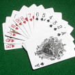 Stockfoto: Hearts to Spades cards on table