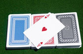 Ace of Hearts across three decks — Stock Photo