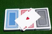 Ace of Hearts across three decks — Stock Photo