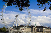London Eye from under the trees — Stock Photo