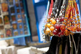 Beaded necklaces in the street market — Stock Photo